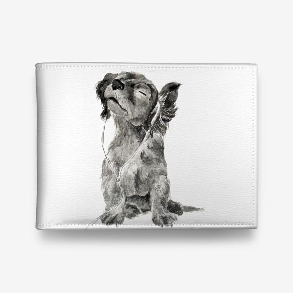 Кошелек «Собака щенок спаниель в наушниках»