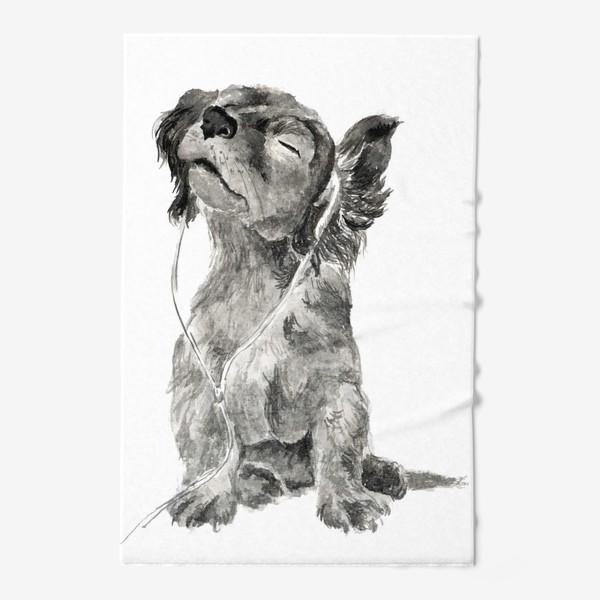 Полотенце «Собака щенок спаниель в наушниках»