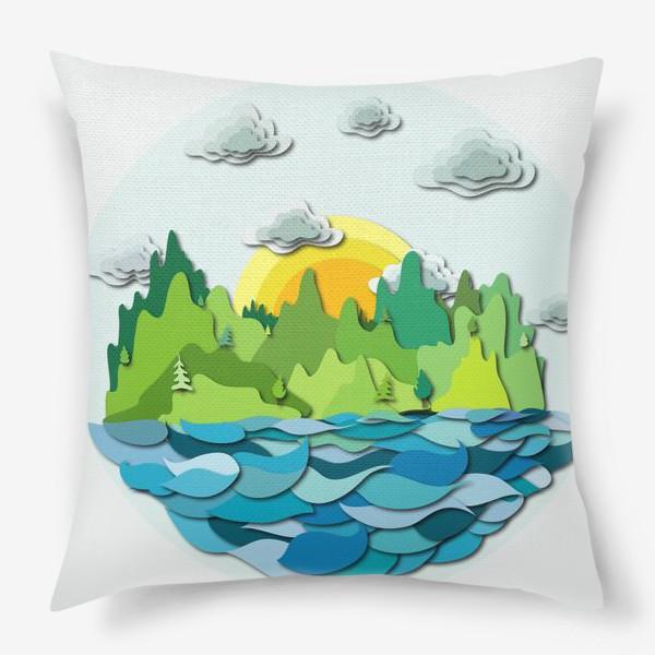 Подушка «Горы, море, облака»