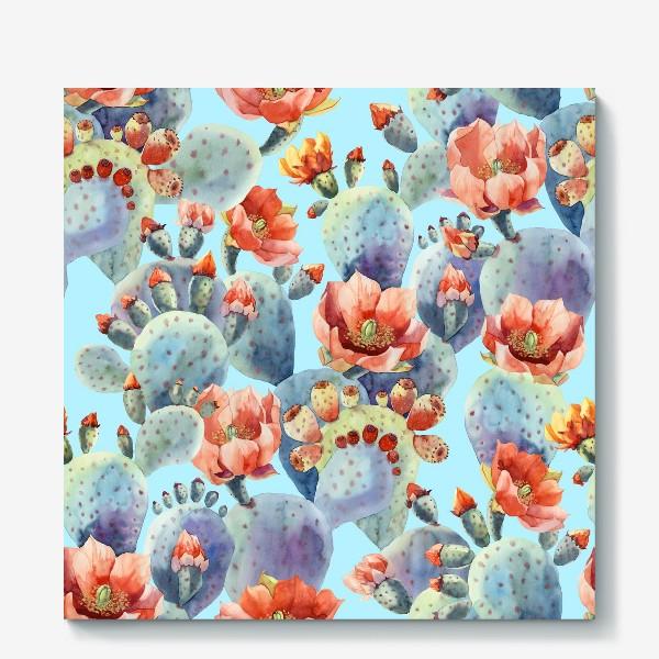 Холст «Цветущие кактусы на голубом фоне»