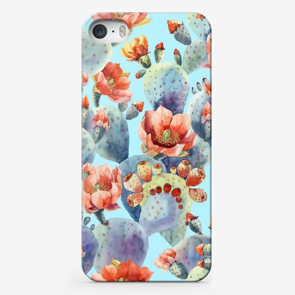 Чехол iPhone «Цветущие кактусы на голубом фоне»