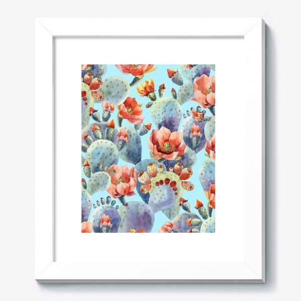 Картина «Цветущие кактусы на голубом фоне»