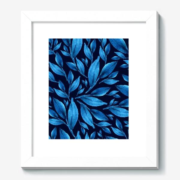Картина «Синие листья на черном фоне»