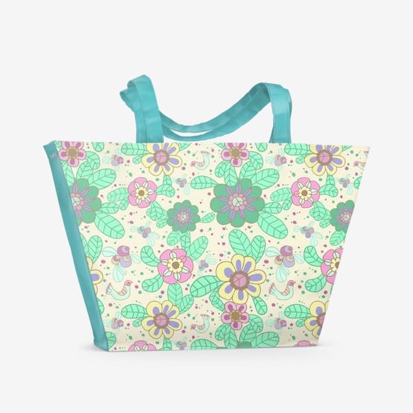 Пляжная сумка «Цветочный рисунок»