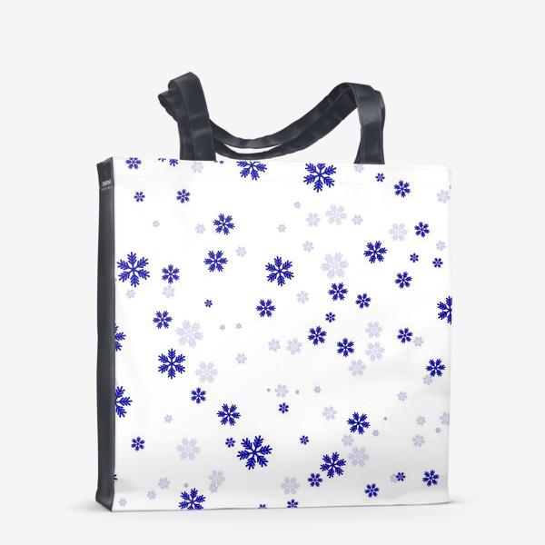 Сумка-шоппер «снежинки на белом»