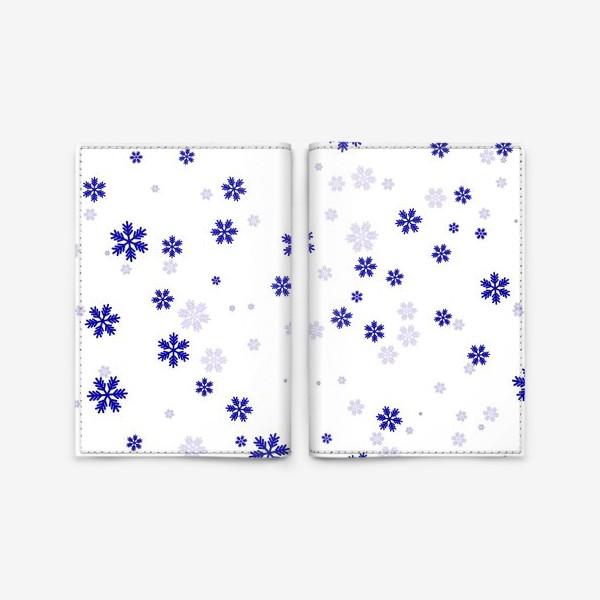 Обложка для паспорта «снежинки на белом»