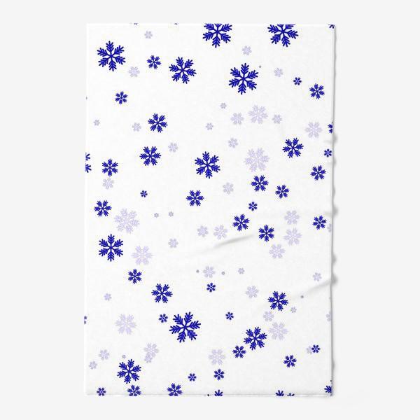 Полотенце «снежинки на белом»