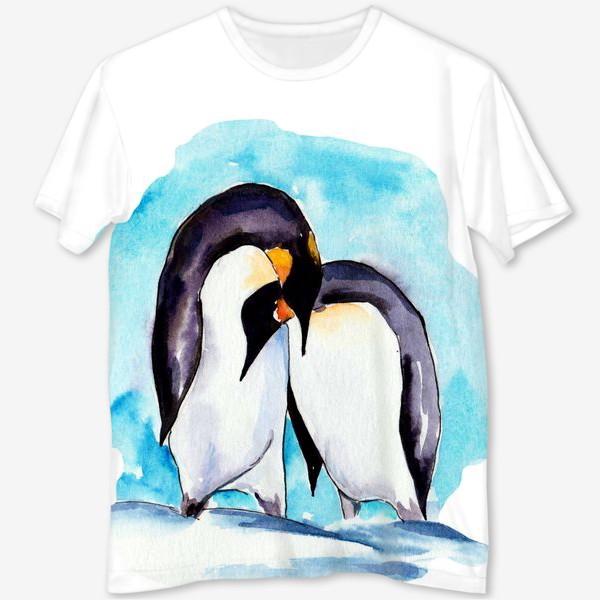 Футболка с полной запечаткой «Влюбленные пингвины»