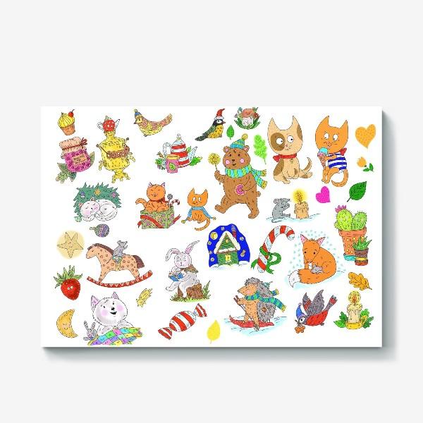 Холст «Новый год и милые зверята»