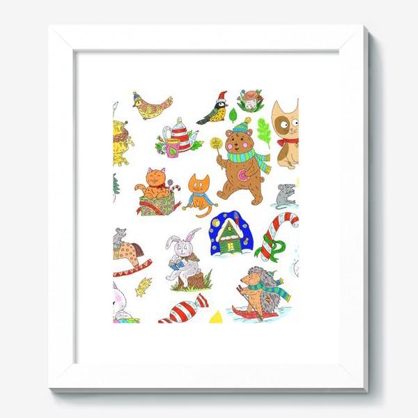 Картина «Новый год и милые зверята»