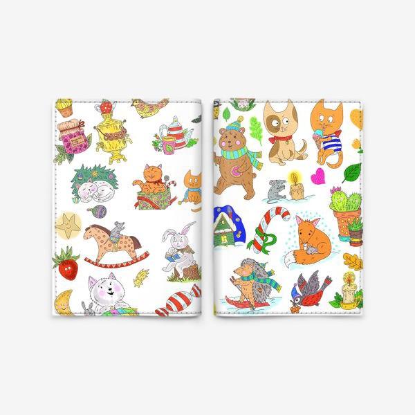 Обложка для паспорта «Новый год и милые зверята»