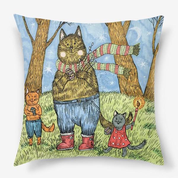Подушка «Кот и котята празднуют Пасху»