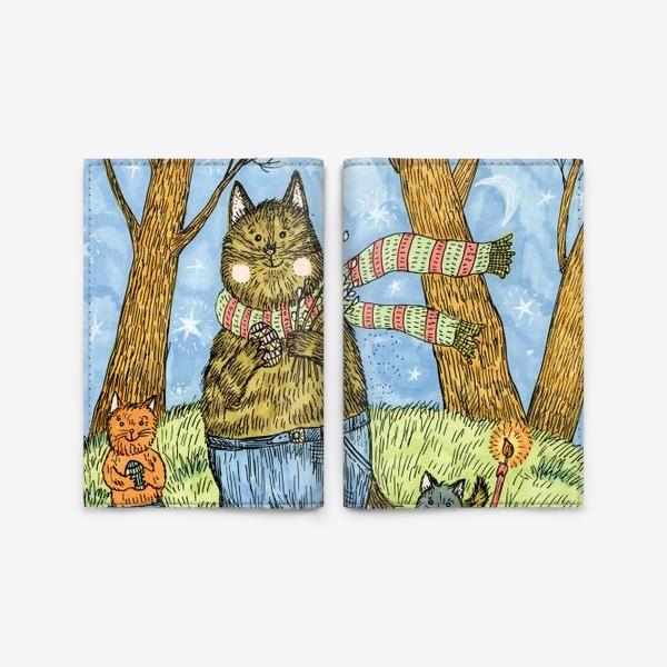 Обложка для паспорта «Кот и котята празднуют Пасху»