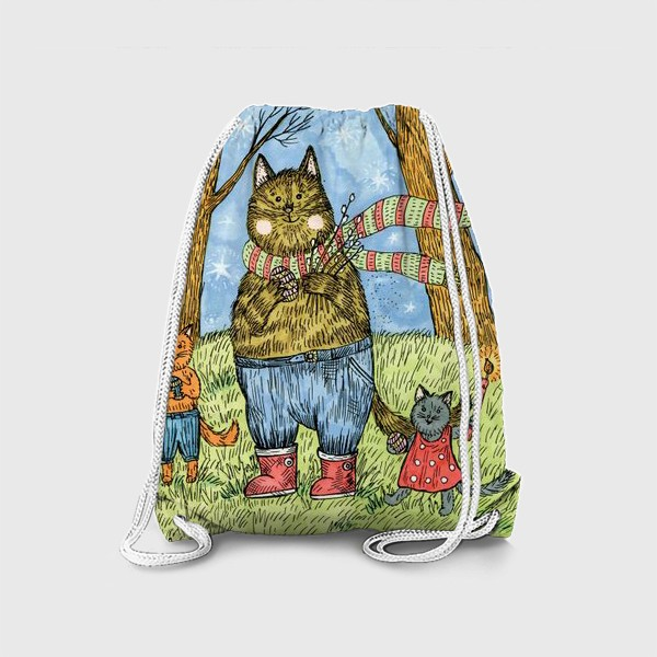 Рюкзак «Кот и котята празднуют Пасху»