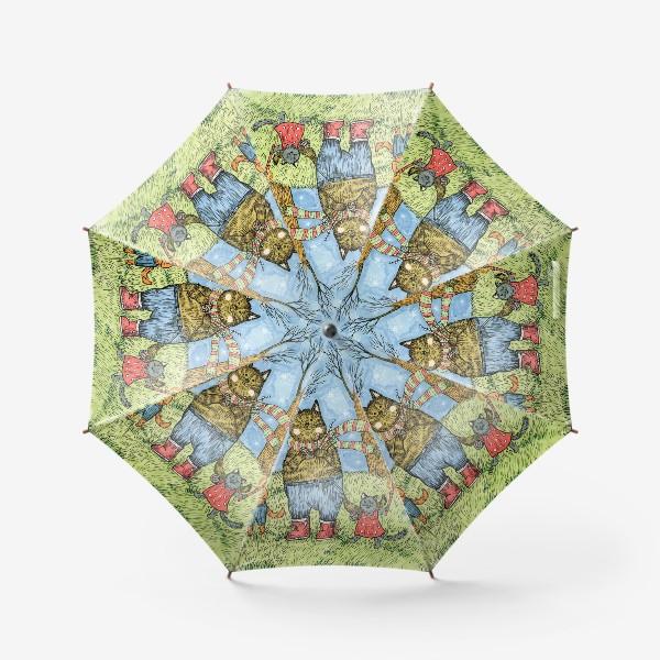 Зонт «Кот и котята празднуют Пасху»