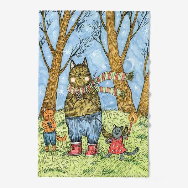 Полотенце «Кот и котята празднуют Пасху»
