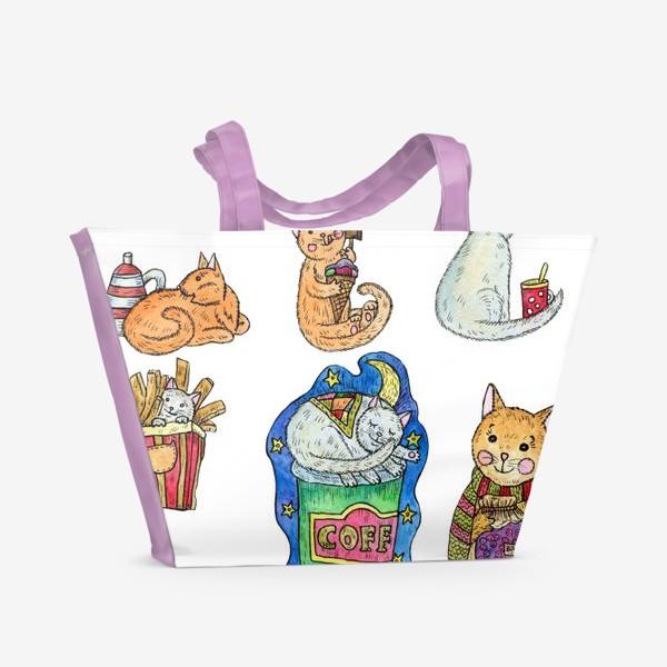 Пляжная сумка «Милые коты и сладости»