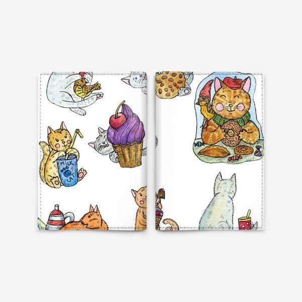 Обложка для паспорта «Милые коты и сладости»