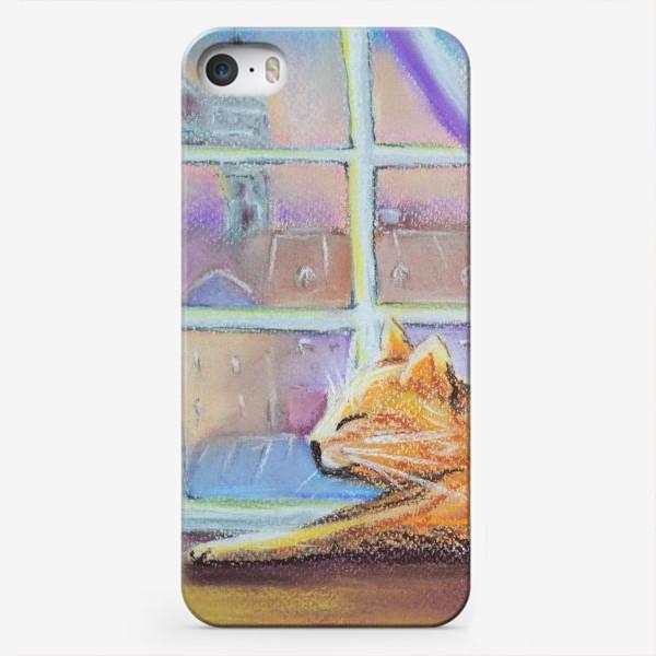 Чехол iPhone «Влюбленный котик Городской пейзаж Романтика День всех влюбленных »