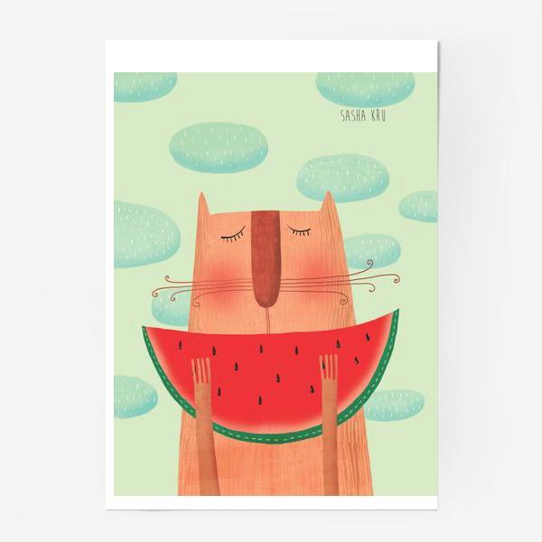 Постер «Кот с арбузом»