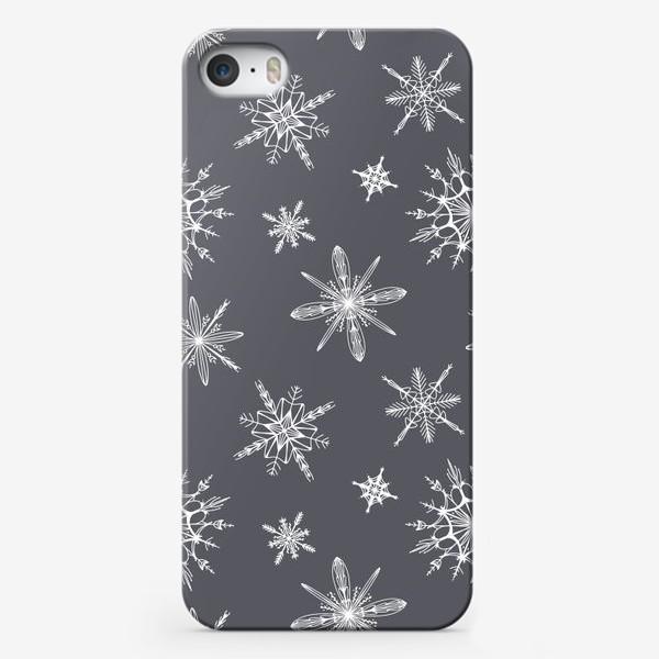 Чехол iPhone «Уютный новогодний паттерн снежинки на сером скандинавия»