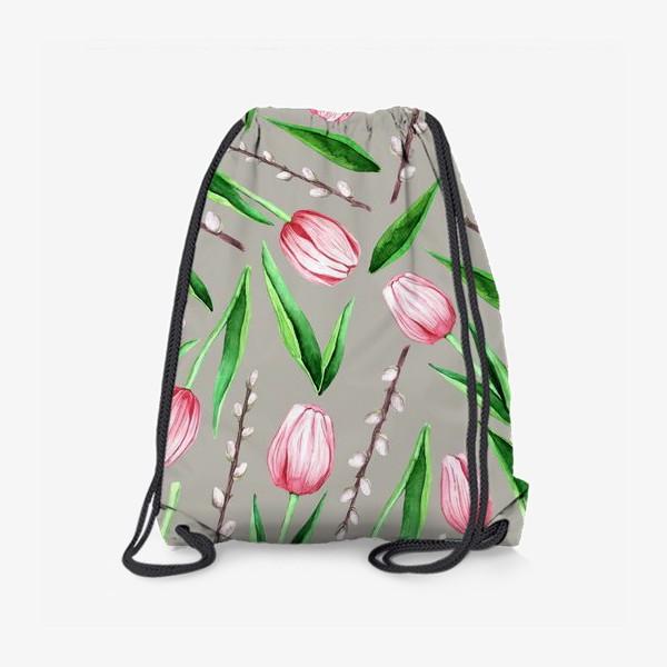 Рюкзак «тюльпанчики на сером. паттерн»