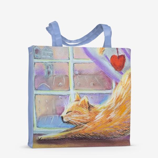 Сумка-шоппер «Влюбленный котик Городской пейзаж Романтика День всех влюбленных »