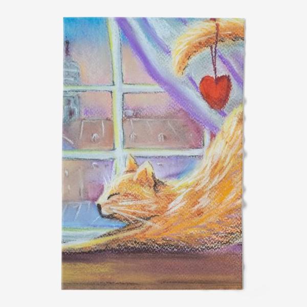 Полотенце «Влюбленный котик Городской пейзаж Романтика День всех влюбленных »