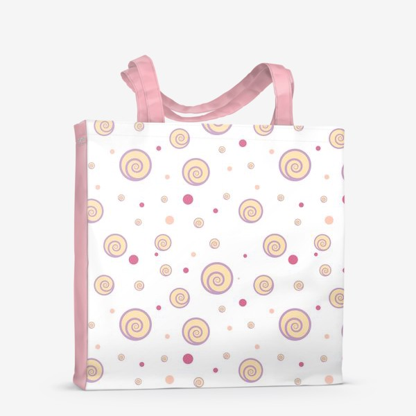 Сумка-шоппер «Colorful funny pattern with spirals and dots as cakes and confetti.»