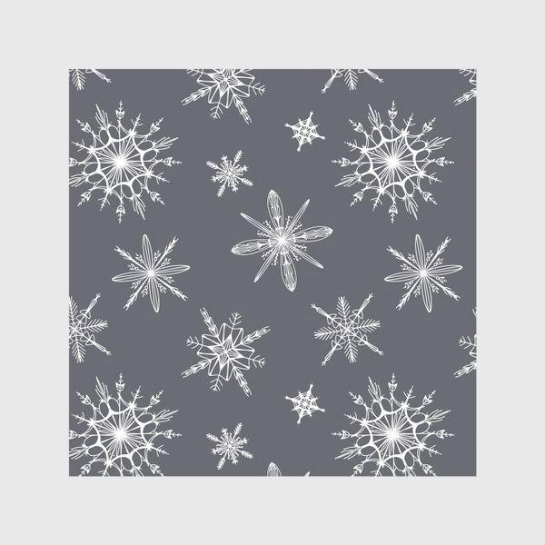 Скатерть «Уютный новогодний паттерн снежинки на сером скандинавия»