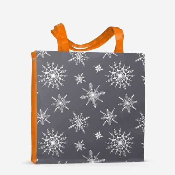 Сумка-шоппер «Уютный новогодний паттерн снежинки на сером скандинавия»