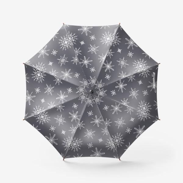 Зонт «Уютный новогодний паттерн снежинки на сером скандинавия»