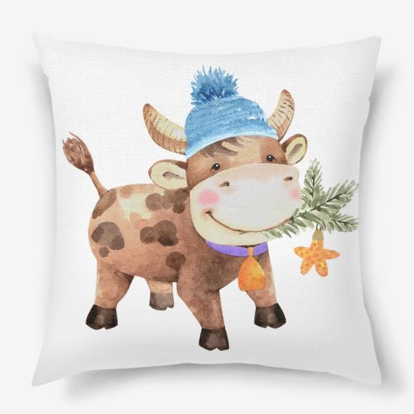 Подушка «милый бык восточный символ нового года»