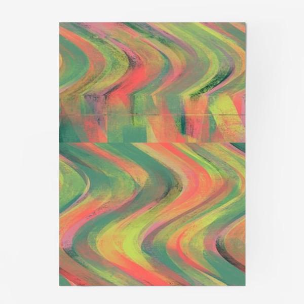 Постер «Нежная абстракция в коралловых и изумрудных тонах»