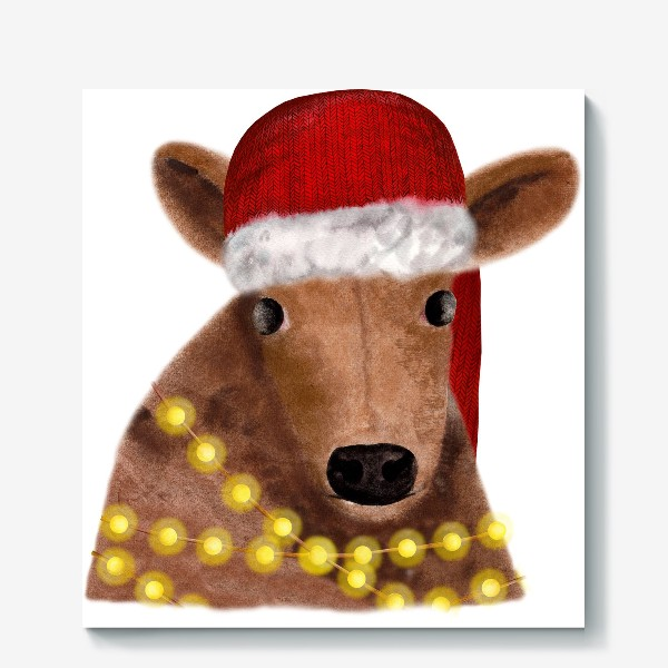 Холст «Милый новогодний бык с гирляндой»