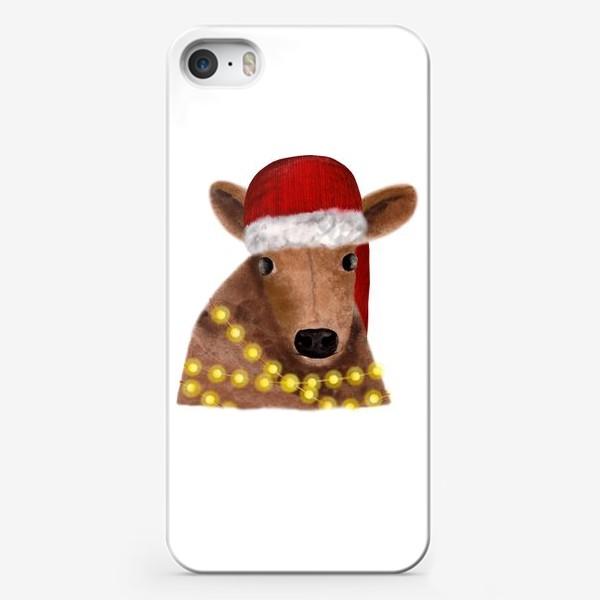 Чехол iPhone «Милый новогодний бык с гирляндой»
