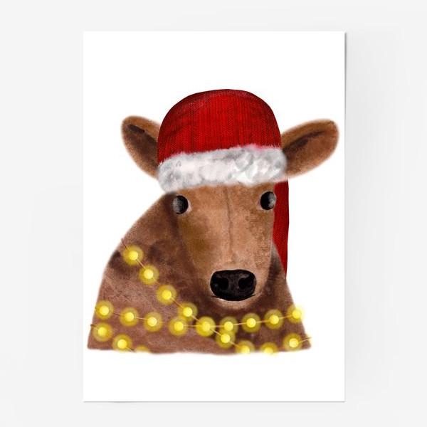 Постер «Милый новогодний бык с гирляндой»