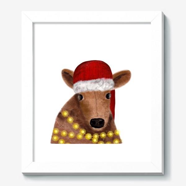Картина «Милый новогодний бык с гирляндой»