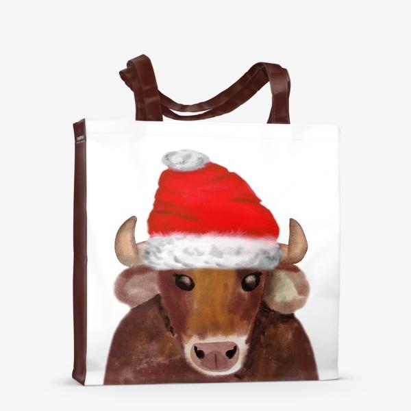 Сумка-шоппер «Новогодний бычёк в красном колпаке»