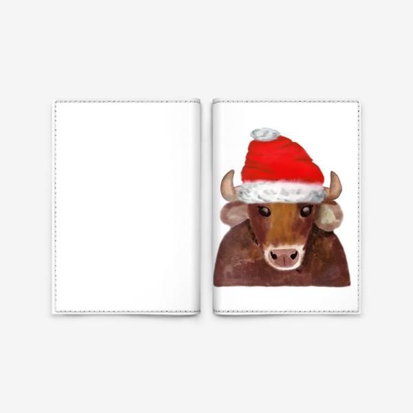 Обложка для паспорта «Новогодний бычёк в красном колпаке»
