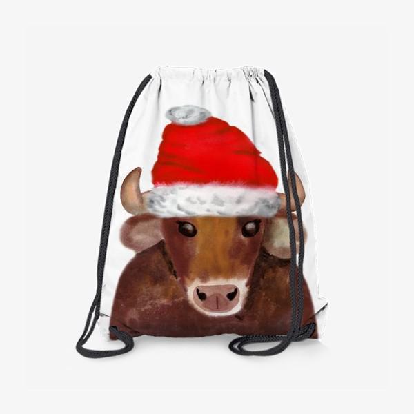 Рюкзак «Новогодний бычёк в красном колпаке»