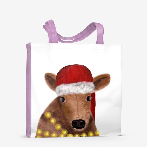 Сумка-шоппер «Милый новогодний бык с гирляндой»