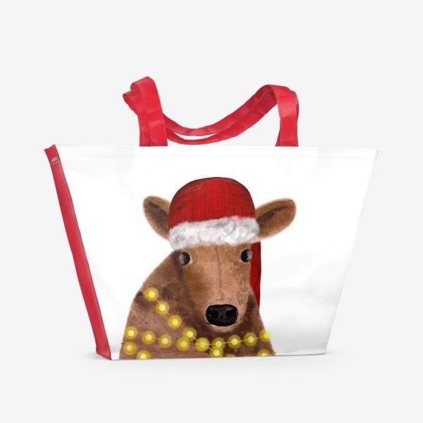 Пляжная сумка «Милый новогодний бык с гирляндой»