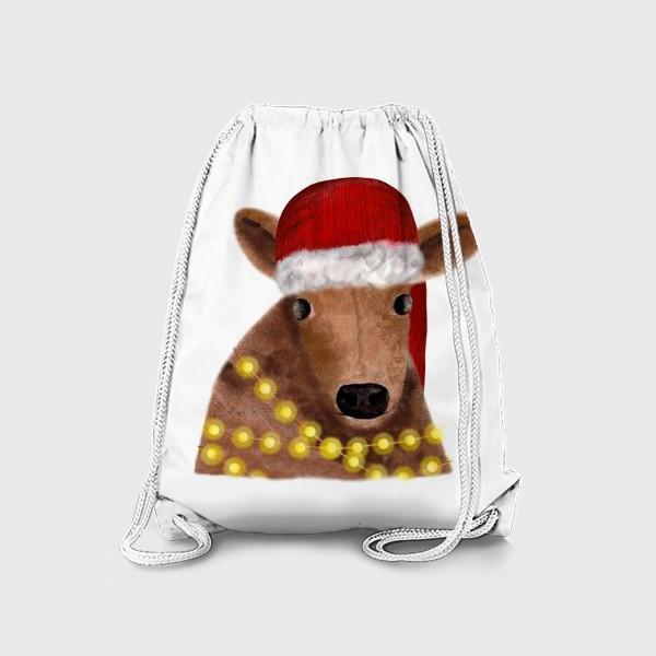 Рюкзак «Милый новогодний бык с гирляндой»