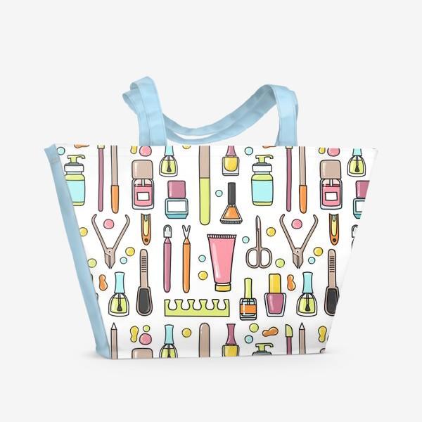 Пляжная сумка «Маникюрный дудл паттерн»
