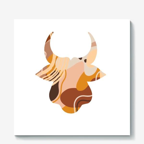 Холст «Бык. Корова. Натуральные естественные сочетания. Современные цвета в стиле бохо. »
