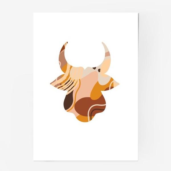 Постер «Бык. Корова. Натуральные естественные сочетания. Современные цвета в стиле бохо. »
