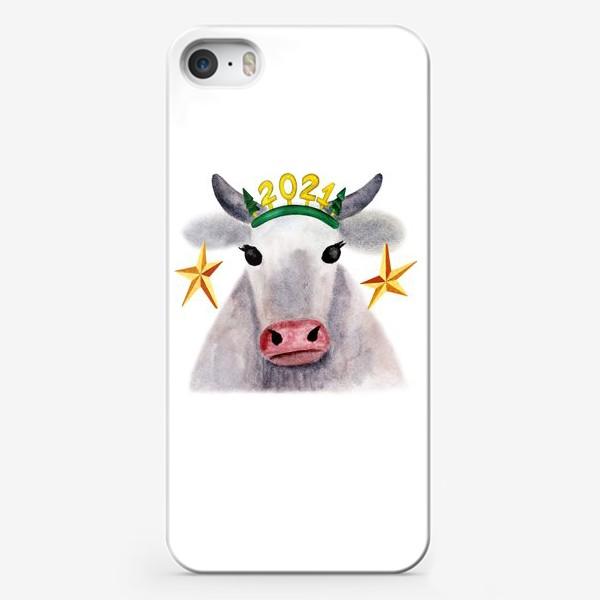 Чехол iPhone «Нарядная новогодняя буренка»