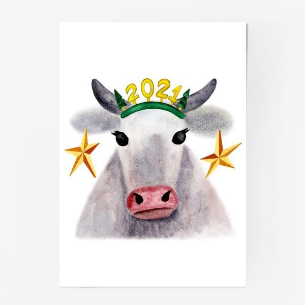 Постер «Нарядная новогодняя буренка»