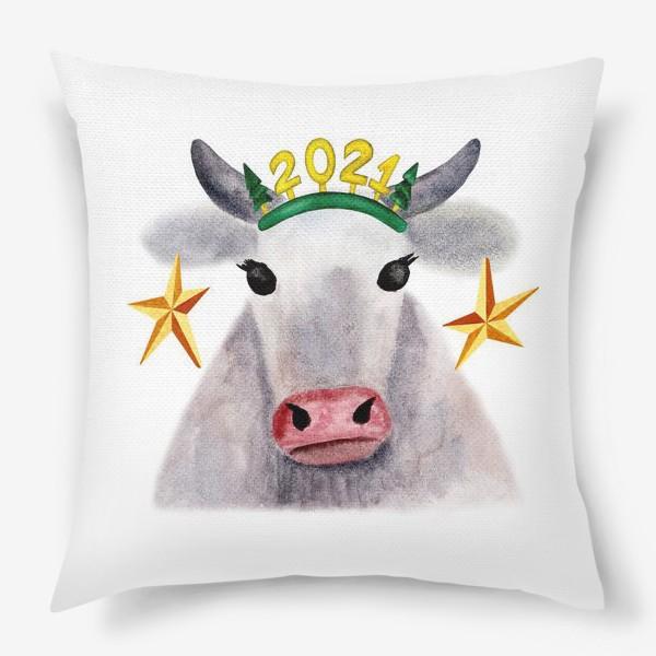 Подушка «Нарядная новогодняя буренка»